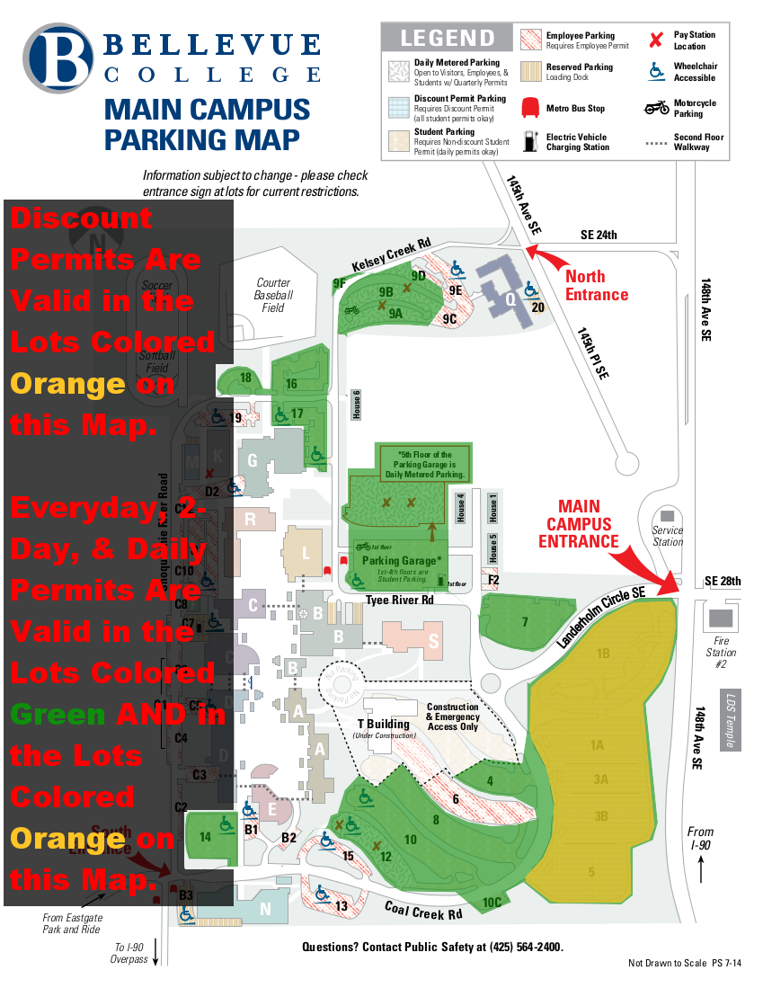 Map showing lots 1, 3, & 5 colored orange, all other student and visitor lots colored green, and stating that Discount permits are valid in orange colored lots on this map and Everyday, 2-day, and Daily permits are valid in all green colored lots as well as all orange colored lots on this map.