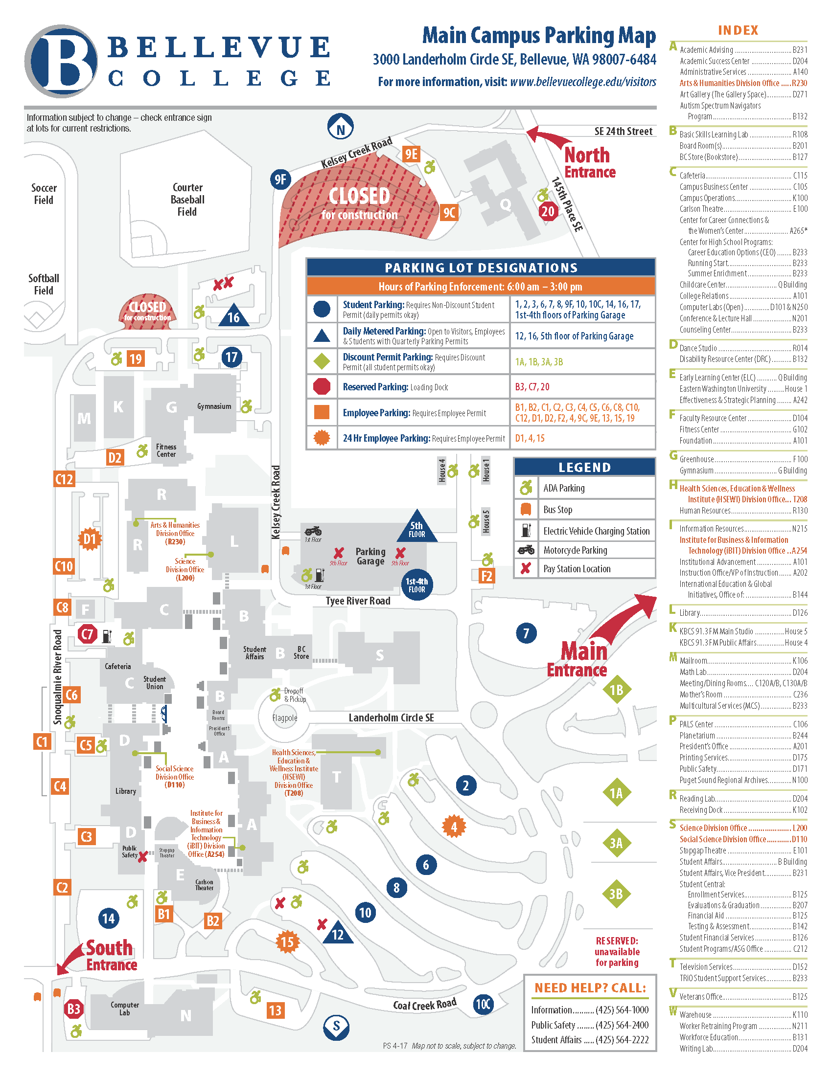 Map Showing Lots 1 3 5 Colored Orange All Other Student And Quarterly Daily Parking Permit